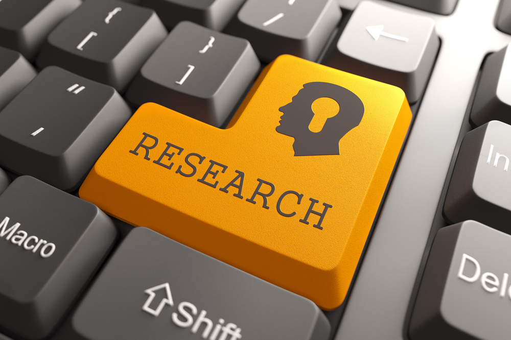 Orange Research Button on Computer Keyboard. Searching Concept.